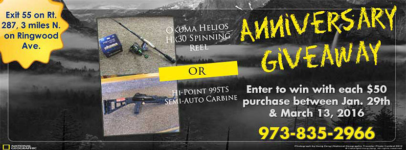 Anniversary Giveaway Okuma Helios HK Spinning Reel or Hi-Point 99STS Semi-Auto Carbine