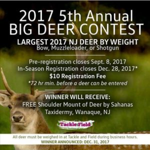 2017 5th Annual Big Deer Contest, Largest 2917 NJ Deer by Weight
