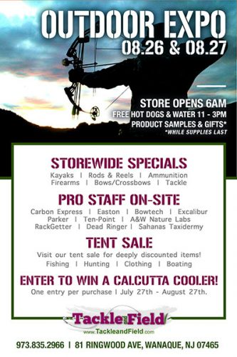 Outdoor Expo and tent sale.  Storewide specials, meet Fishing, Archery, Boating and Hunting ProStaff on site.