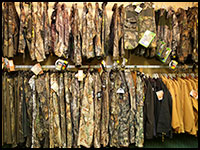 Camouflage clothing, brands include Natural Gear, Primos, Mossy Oak, Scent Blocker, Rivers West, Scent Lock and Realtree