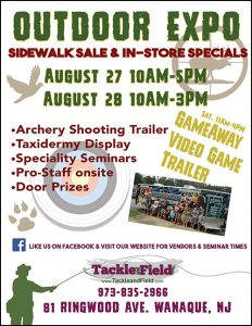 Outdoor Expo: Fishing, hunting archery and more sales in store and sidewalk.