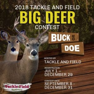 Big Deer contest from September 8th through December 31st with registration from July 1st to December 29th