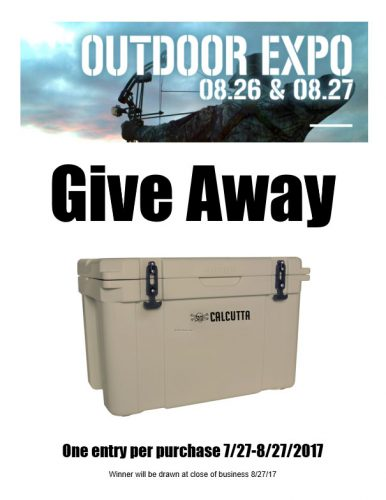 Promotion Give Away 7/27-8/27/17 Calcutta Cooler, One entry per purchase